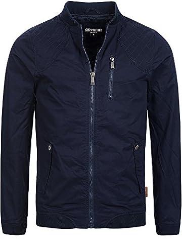 S!RPREME Herren Jacke Ambrose Übergangsjacke Sommerjacke Militär Used Look Vintage Style Softshell-Jacke 10051BS Blau