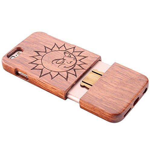 Coque iPhone 7 Anti Choc Case en Bois Naturel Forepin® Réel Etui Couvert et Housse en Wood Dur dans Motif de Sculpté élégante Protecteur pour iPhone 7,4.7 inch (Lion) Soleil