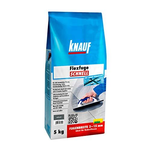 Knauf Flexfuge SCHNELL, schnellhärtender Fugen-Mörtel für alle Boden-Fliesen - flexibler Fliesen-Zement mit Extra-Haftformel, schmutzabweisende Flex-Fuge, Anthrazit, 5-kg