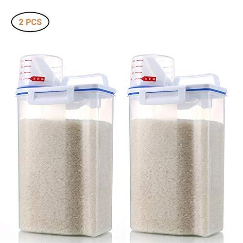 Food Storage Organizer (Reis Getreide Vorratsdosen Set, Surenhap Getreidebehälter Premium Aufbewahrung 2 * 1.7L transparent Organizer mit Skala und Griff für Food Storage)