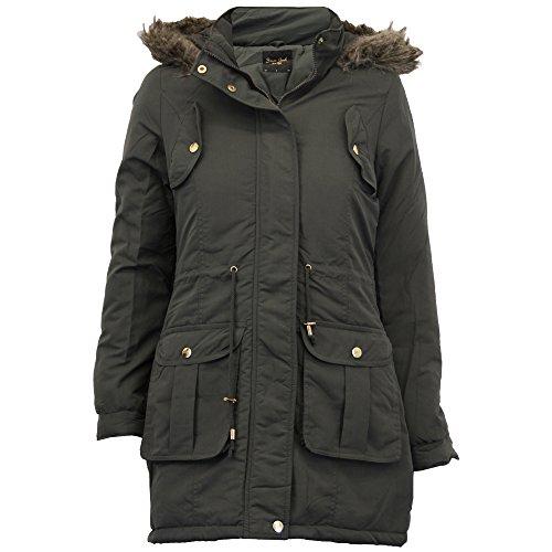 Damen Parka Jacke Brave Soul Damen-mantel Gesteppt Kapuze Pelzfutter Winter Neu Khaki - CICELY