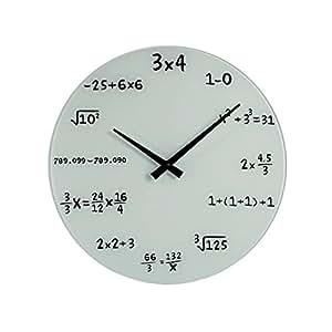 Mathématiques (914) horloge murale en verre blanc 35 cm mathematic maths formules de montre