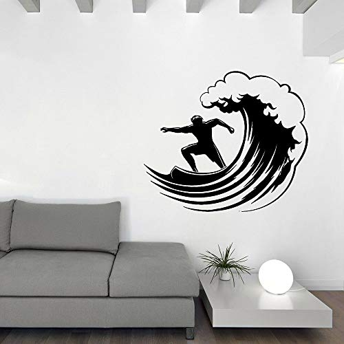 Tianpengyuanshuai Surfen Extreme Sportarten kreative wandtattoo Wohnzimmer Surfer Welle Vinyl wandaufkleber Junge Zimmer Moderne raumdekoration 36x42 cm