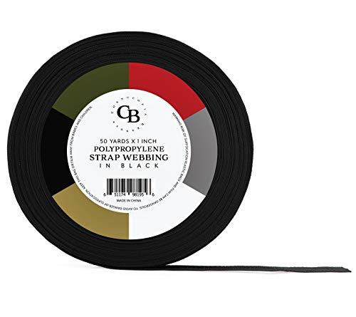 Polypropylen-Gurtband, 15 m x 2,5 cm, 2,5 cm breit, ideal für Taschen, Outdoor-Ausrüstung, Halsbänder, Leinen, Halter, Sportausrüstung und mehr 50 Yards schwarz -