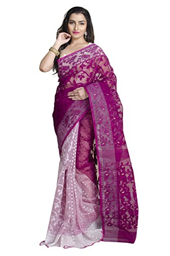 Upama Purple & White Jamdani Saree