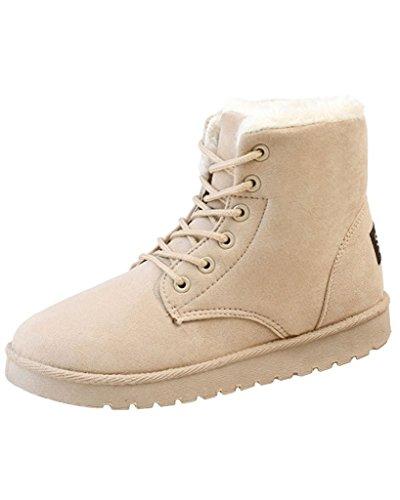 Minetom Donna Autunno Inverno Lace Up Pelliccia Classico Neve Stivali Snow Boots Stivali Cavaliere Scarpe Piatte Beige