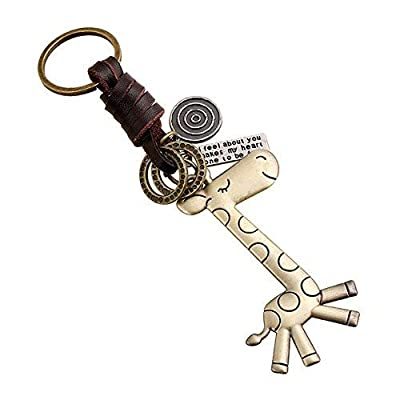 beiguoxia Vintage Cute Giraffe with Cow Leather Keychain Handbag Purse Charm Keyring : everything five pounds (or less!)