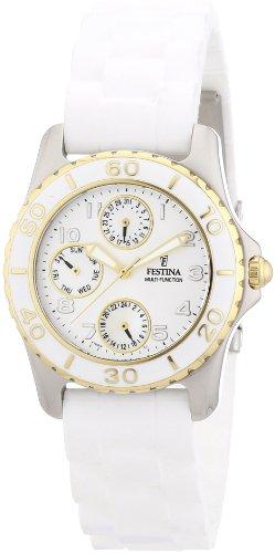 Festina Trend Multifunktion F16201/9 - Reloj analógico de cuarzo para mujer, correa de silicona color blanco (agujas luminiscentes)