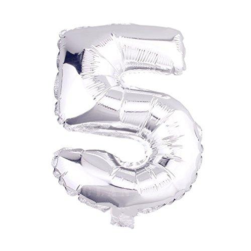 r Luftballons Buchstaben A zu Z Zahlen 0 zu 9 Geburtstag Hochzeit Jubiläum Babyparty Deko Ballons (Zahl 5) (Nummer 50 Ballons)