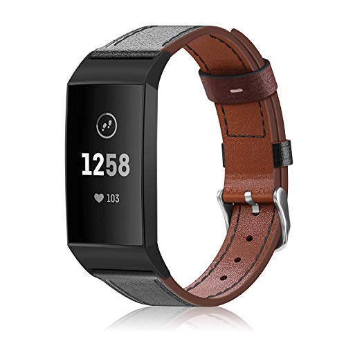 Price comparison product image FINTIE for Fitbit Charge 3 Strap,  Premium Genuine Leather Wrist Bands Adjustable Replacement Straps Compatible with Fitbit Charge 3 & Charge 3 SE Fitness Tracker,  Black