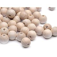 Beads Unlimited - Abalorios (12 mm, madera, redondos, sin barnizar, 100 unidades)