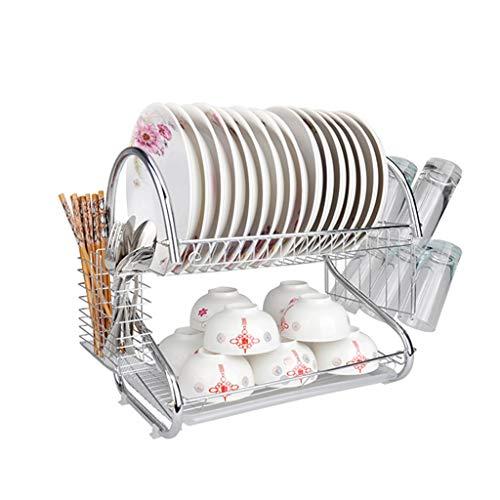 Kkcd piattino scolapiatti a 2 piatti portapiatti a piatto piatto in acciaio inox piattino posate piattino scolapiatti con portabicchieri e posate organizer da cucina con vassoio antigoccia