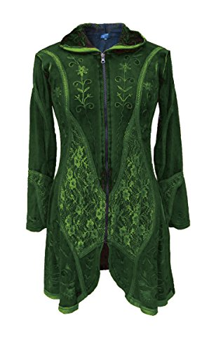 Dark Dreams Gothic Goa Ethno Witchy Mantel Jacke im Pixie Style Hoodie lange Kapuze bestickt alternative Kleidung Nehaniel, Farbe:grün, Größe:XXL (Alternative Kapuzen)