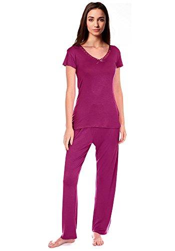 Femmes Détail Nœud Confortable PJ Pyjama Ensemble Viscose Pyjamas Pyjamas femmes Vêtement De Détente Rosa - Berry S/S Cookies & Cream