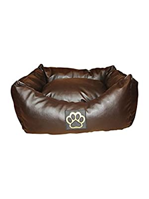 Washable Faux Leather Small Dog Bed In Brown