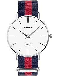 Sinobi Relojes Hombre Nylon deportivos Quartz Analogico Quartz Reloj de colores