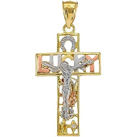 Donne Collana Pendente Multi-Tone 10 Ct Giallo Oro Fortunato Crocifisso Zirconia (Viene Fornito Con Una Catena Da 45cm)