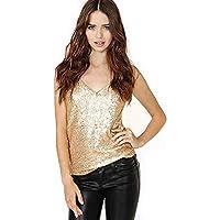 Mujeres Sexy y Clásico Sparkle V Neck Shimmer Top Camisole Lentejuelas Tank Top (Color : Gold, Size : XXL)