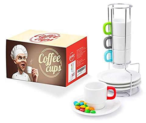 Demitasse Cups Set Stackable - White Ceramic Cup for Espresso Turkish Coffee and Chinese Tea - Bright Silicone Coating Handles - 4 Mugs 70ml/2,4oz with Matching Saucers - Steel Holder by Artic
