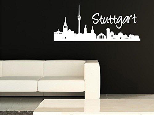 Wandtattoo Wand für Wohnzimmer Büroration Sticker Stuttgart Skyline Stadt (95x40cm // 090 silbergrau)