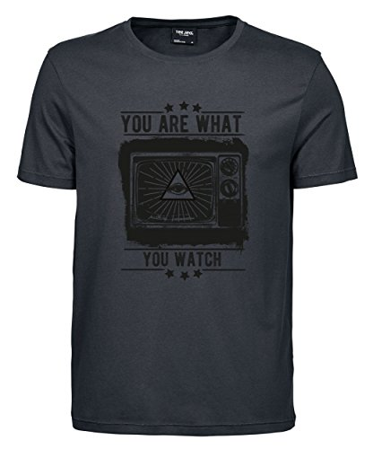 makato Herren T-Shirt Luxury Tee Television Dark Grey