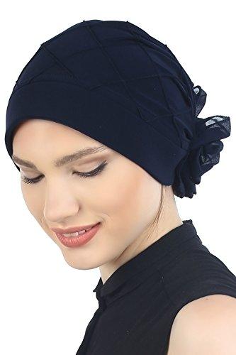 Motif diamant turban pour Perte de Cheveux, Cancer, Chimio Marine