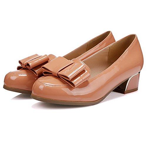 Odomolor Femme Tire Rond à Talon Bas Pu Cuir Couleur Unie Chaussures Légeres Orange
