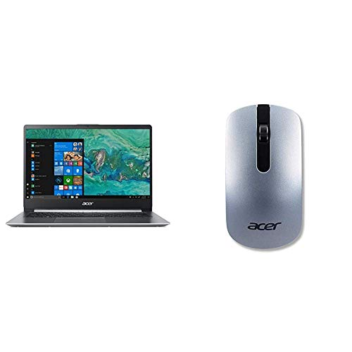 "Acer Swift 1 SF114-32-P56T Notebook con Processore Intel Pentium Silver N5000, RAM 4 GB, 128 GB SSD, Display 14"" FHD IPS LED LCD, Intel UHD 605, Windows 10 Home, Silver + Mouse Sottile senza Fili"