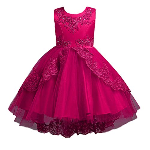 IZHH Kinder MäDchen Kleider 3Y-8Y Sleeveless Bogen Mesh Rock Kleid Kleid Spitze Bowknot Prinzessin Hochzeit Pageant Geburtstag Party Kleid Kleidung(Hot ()