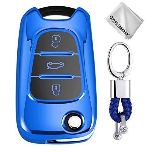 Key Protection Shell Auto Schlüssel Hülle Key Cover Case Etui Silikon mit Schlüsselanhänger Für Hyundai i20 i30 i35 iX20 iX35 Kia Rio Rondo Soul Sportage 3 Buttons Blau (Kia Remote-start)