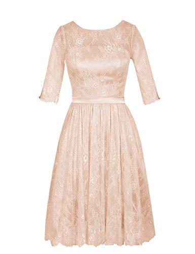 Dresstells, robe de demoiselle d'honneur Robe de cérémonie en dentelle col rond manches mi-longues Jaune
