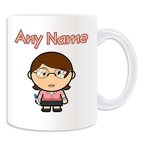 Personalisiertes Geschenk–Lehrer weiblich Tasse (Karriere Design Thema, weiß)–Jeder Name/Nachricht auf Ihr Einzigartiges–Schule Office Lady Gläser Klasse braun Haar (Besatzung Glas)