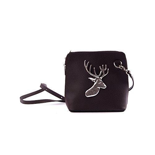 Almbock Trachten-Tasche Mia aus echt Leder - in dunkel-braun mit alt-silberner Hirsch-Applikation, universal einsetzbar zu Dirndl oder Lederhose (Korsett Dunkles Grün)