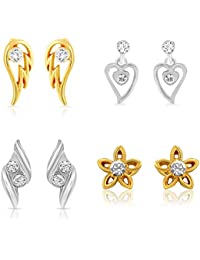 Mahi Gold & Rhodium Plated Combo Of Four Stud Earrings With Crystals For Women CO1104627M
