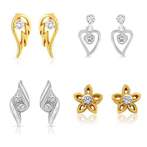 Mahi Gold & Rhodium Plated Combo Of Four Stud Earrings With Crystals...