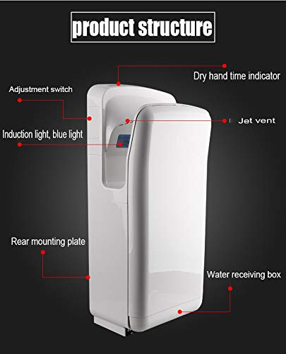 41CXAeXKmhL - Double-sided Jet Smart Hand Dryer, Wall-mounted, High-speed Powerful, No Noise, Energy Efficient, with UV Germicidal…