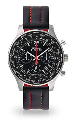 DETOMASO Firenze XXL Herren-Armbanduhr Chronograph Analog Quarz Silbernes Edelstahl-Gehäuse Schwarzes Zifferblatt (Leder - Schwarz (Naht: Rot))