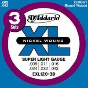 D Addario EXL120 XL Nickel Wound Super Light 009 042 Electric Guitar Strings 3 Pack