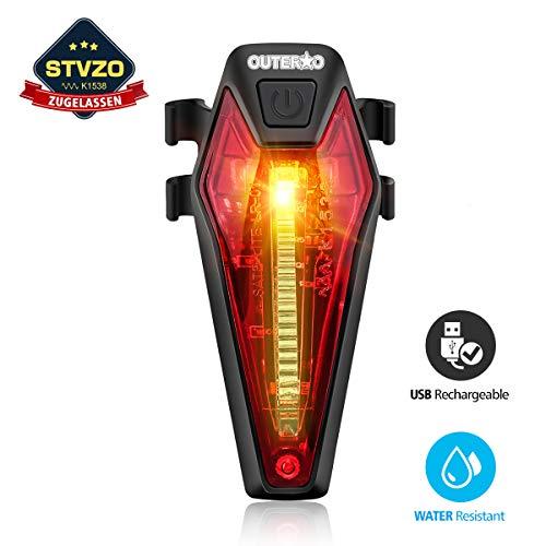 OUTERDO Rücklicht Fahrrad, USB aufladbares Fahrrad-Licht Helle LED Fahrrad Rückleuchten mit 220 Grad Weitwinkelsicht, Mountainbike-Licht Wasserdicht IPX4