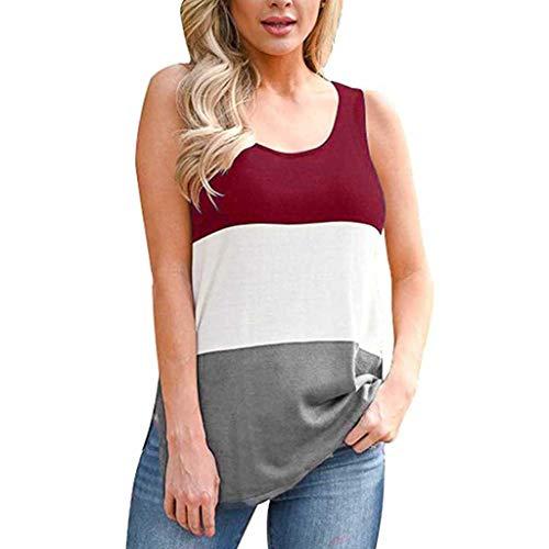 UYSDF Ärmellose Rundhals-Shirts für Damen Patchwork Side Slit Casual Tank Tops 2019 (Top Dog Kostüme 2019)