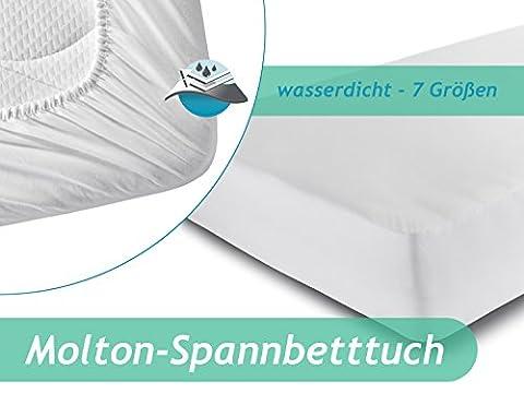 Spannbetttuch mit wasserdichter Sperrschicht – erhältlich in 7 Größen - schützt vor Nässe und Verunreinigungen – mit weicher Flanell-Oberseite aus reiner Baumwolle, 160 x 200 cm