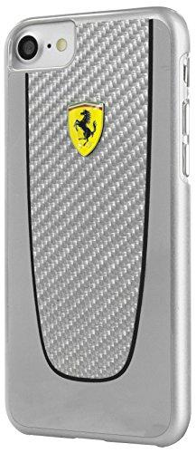 Ferrari FEPICHCP7LSI Echte Carbon-Faser Hart Schutzhülle für Apple iPhone 7 Plus schwarz Litze Silber
