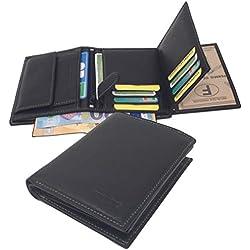 Mamjack® Portefeuille Homme en Véritable Cuir de Qualité Supérieur avec Blocage Anti RFID (Noir Nd2)