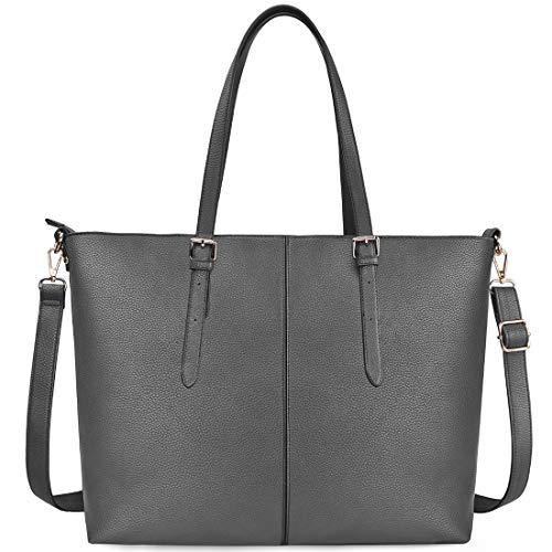 Leder Shopper Tasche (NUBILY Laptop Damen Handtasche 15,6 Zoll Shopper Handtasche Grau Elegant Leder Taschen Große Leichte Elegant Stilvolle Frauen Handtasche für Business/Schule/Einkauf)