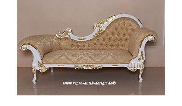 Chaiselongue Barock Sofa Couch Louis Xv Repro Antik Design Weiss