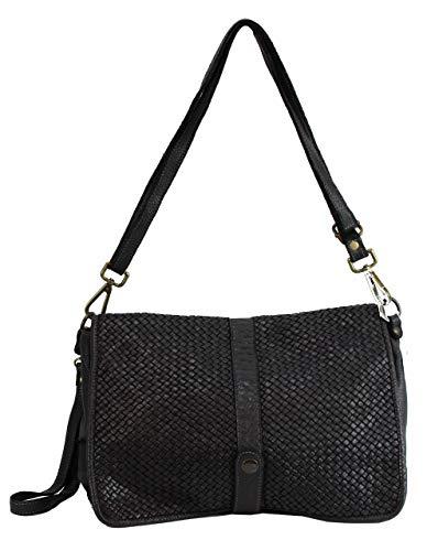 BZNA Bag Lola Schwarz nero Italy Designer Clutch Umhängetasche Damen Handtasche Schultertasche Tasche Leder Shopper Neu