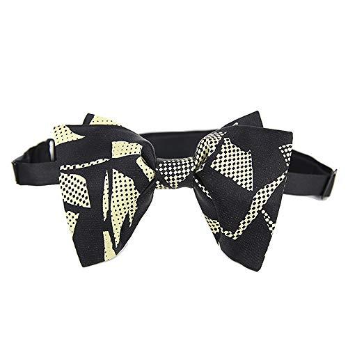Keliour Der vorgebundene Bogen der Männer Männer Klassische offizielle Smoking handgemachte Doppelschicht Fliege Hochzeit Fliege Bow Black Gold Krawatten für ()