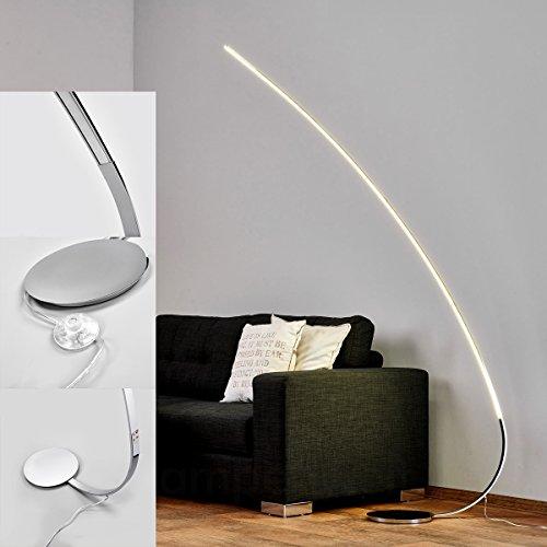 LED Stehlampe Bogenlampe bogenstandleuchte chrom flach 180cm 15W / 1440lm IP20 LED Stehleuchte modern Deckenfluter chrom/weiß Energieklasse A++]
