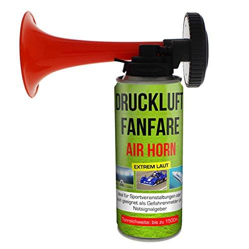 2x Druckluftfanfare Air Horn je 210ml, bis zu 60 Signale, Fanfare für Sport Veranstaltungen und als Warnsingnal, Hupe Tröte Drucklufthupe Gashupe Fantröte Airhorn Stadion Horn