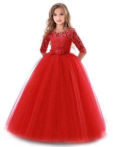 NNJXD Mädchen Festzug Stickerei Prom Kleider Prinzessin Hochzeit Kleidung Größe(160) 11-12 Jahre Rot